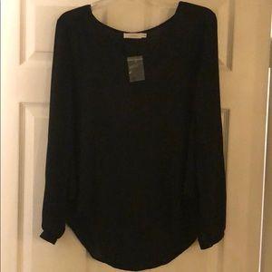 Lush long sleeve black blouse